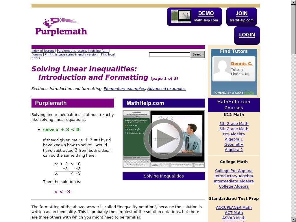 Solving Linear Inequalities: Introduction and Formatting